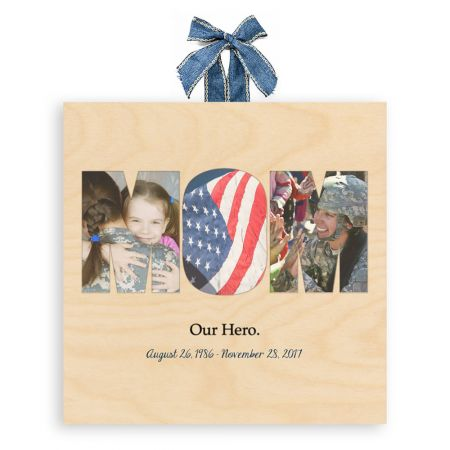 12x12 Mom Collage - Our Hero - Expressions Wood Print