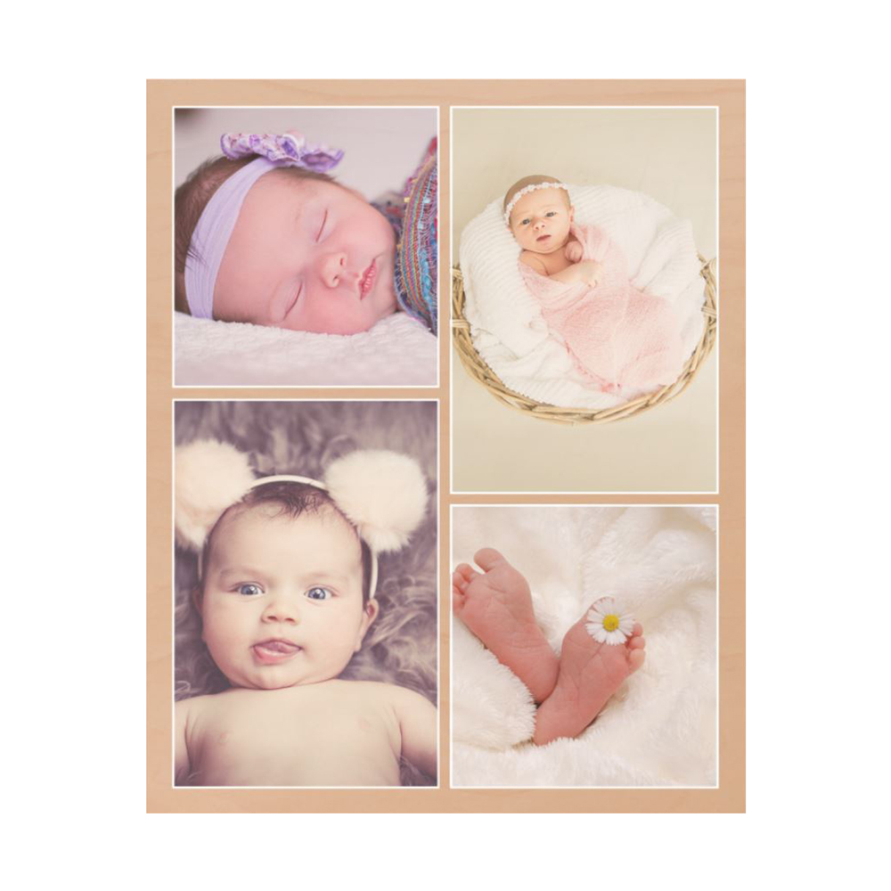 16x20 Wood 4 Picture Collage Photo Print