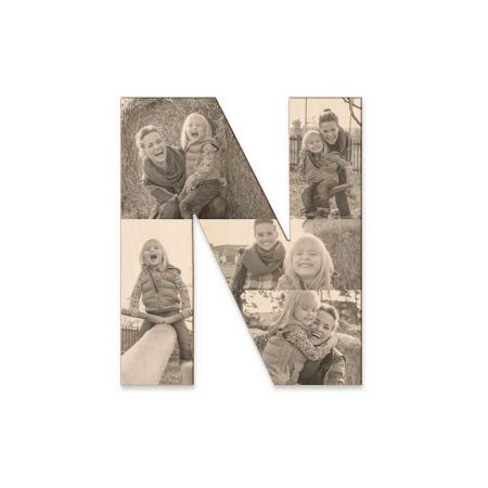 12-Inch Wood Photo Letter - N