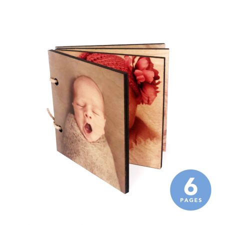 4x4 Wood Photo Book - 6 Pages