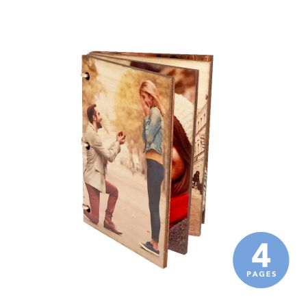 4x6 Wood Photo Book - 4 Pages