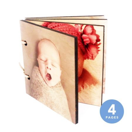 6x6 Wood Photo Book - 4 Pages