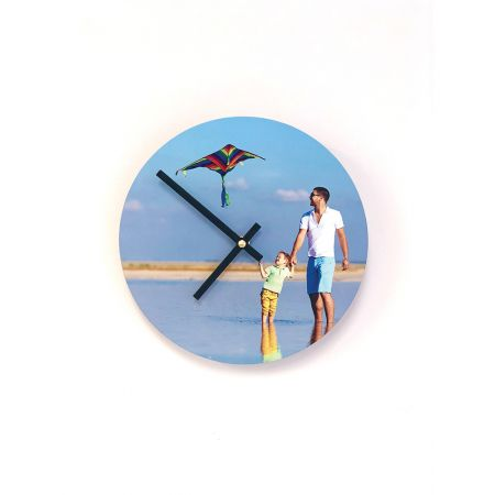 8-Inch Round Metal Photo Clock