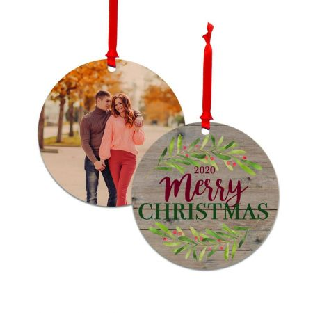 Wood Ornament with Holly Merry Christmas