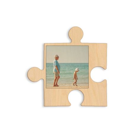12-Inch Wood Photo Puzzle Piece - A