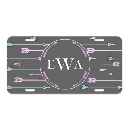 6x12 Arrows Monogram Metal License Plate