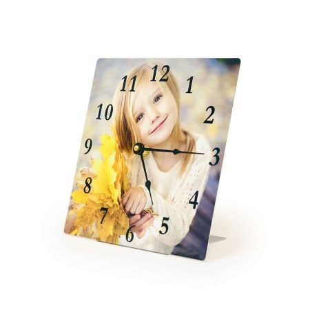 8-Inch Square Metal Photo Desk Clock