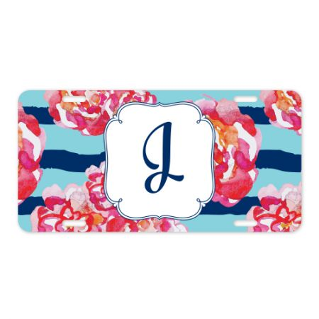6x12 Floral Initial Metal License Plate