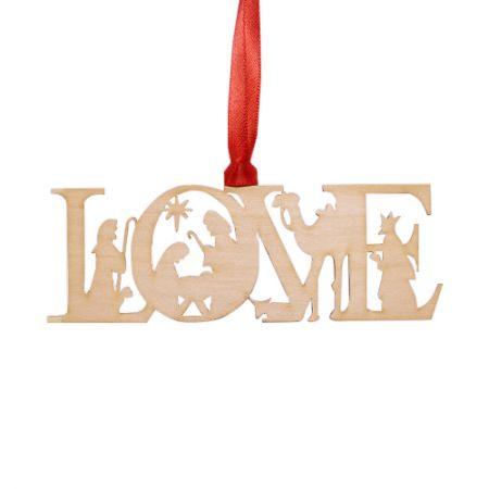 Nativity Love Wood Ornament