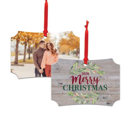 Metal Ornament with Holly Merry Christmas