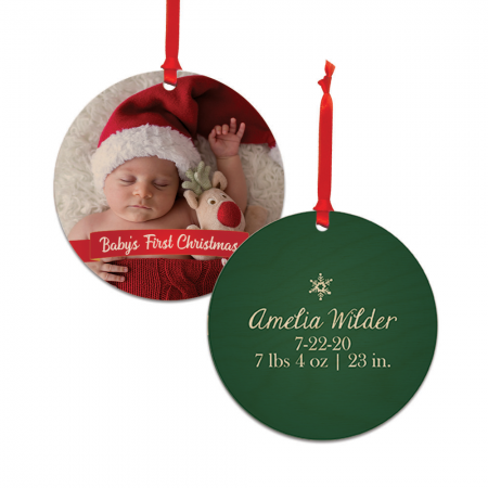 Baby's First Christmas Round Wood Ornament - Newborn