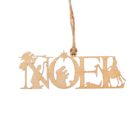 Nativity Noel Wood Ornament