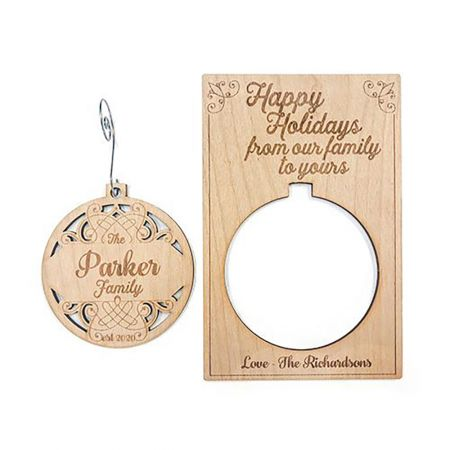 Happy Holidays Wood Pop-out Ornament Card