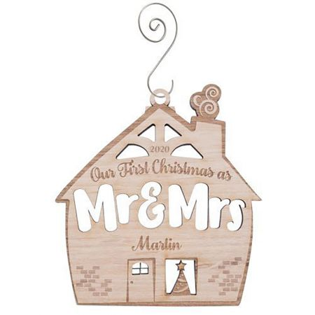 Our First Christmas as Mr & Mrs Wood Ornament