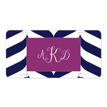 6x12 Curvy Chevron Monogram Metal License Plate