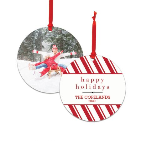 Happy Holidays Round Metal Ornament - Candy Cane