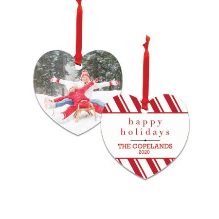 Happy Holidays Heart Metal Ornament - Candy Cane