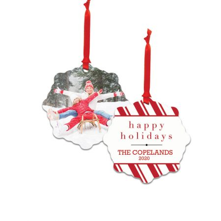 Happy Holidays Snowflake Metal Ornament - Candy Cane