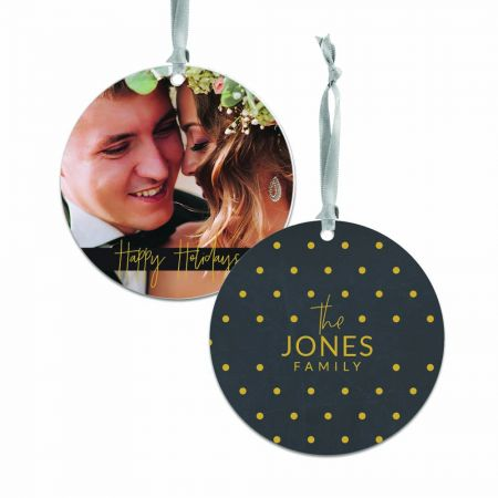 Happy Holidays Round Metal Ornament - Dots