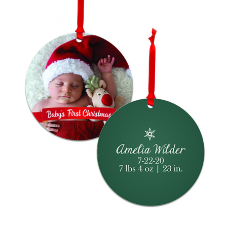 Baby's First Christmas Round Metal Ornament - Newborn