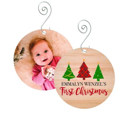 First Christmas Round Metal Ornament - Trees
