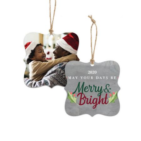 Merry & Bright Dayton Metal Ornament - Holly