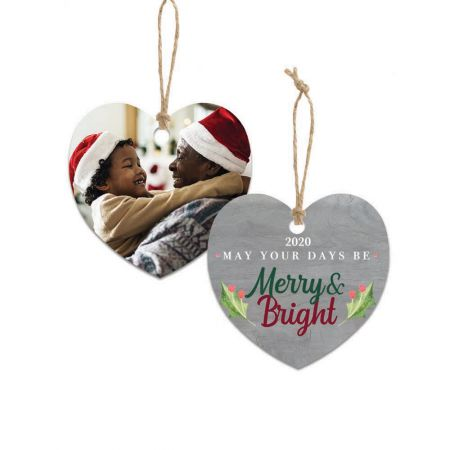 Merry & Bright Heart Metal Ornament - Holly