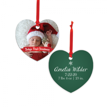 Baby's First Christmas Heart Metal Ornament - Newborn