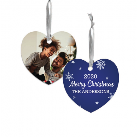 Merry Christmas Heart Metal Ornament - Snowflakes