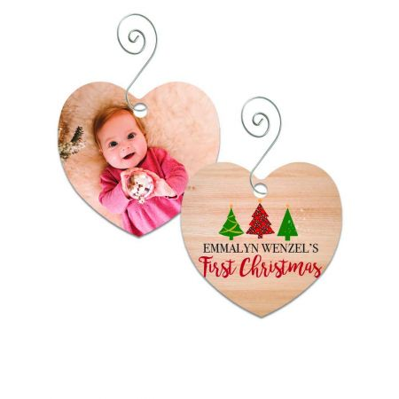First Christmas Heart Metal Ornament - Trees