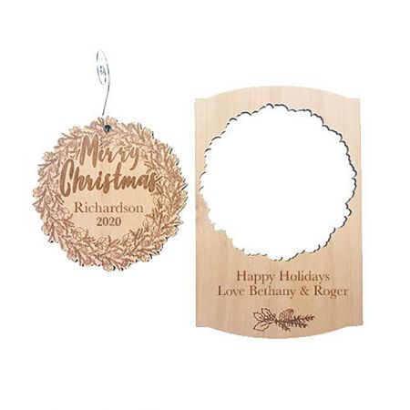 Wreath Wood Pop-out Ornament Card