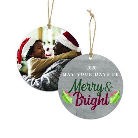 Merry & Bright Round Metal Ornament - Holly