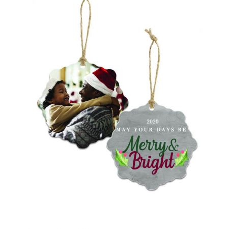 Merry & Bright Snowflake Metal Ornament - Holly
