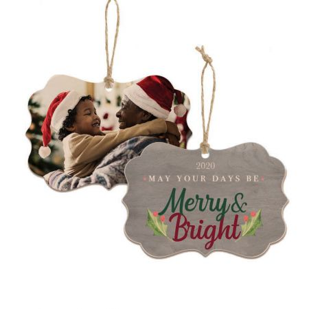 Merry & Bright Brandywine Wood Ornament - Holly