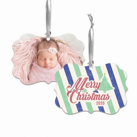 Merry Christmas Brandywine Metal Ornament - Stripes
