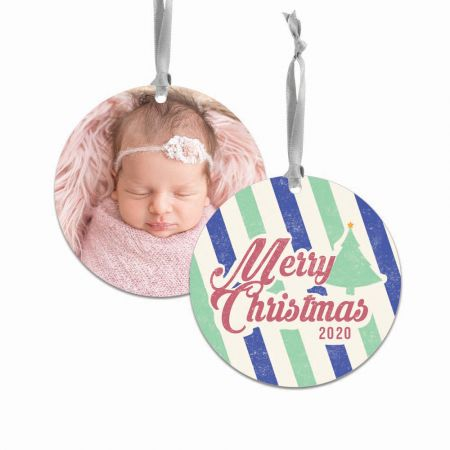 Merry Christmas Round Metal Ornament - Stripes
