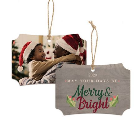 Merry & Bright Franklin Wood Ornament - Holly