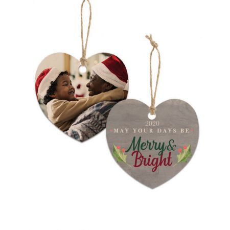 Merry & Bright Heart Wood Ornament - Holly