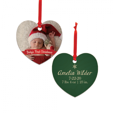 Baby's First Christmas Heart Wood Ornament - Newborn