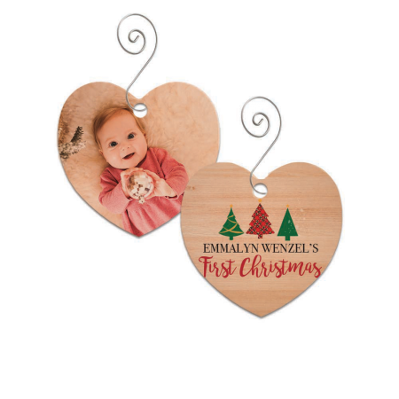 First Christmas Heart Wood Ornament - Trees