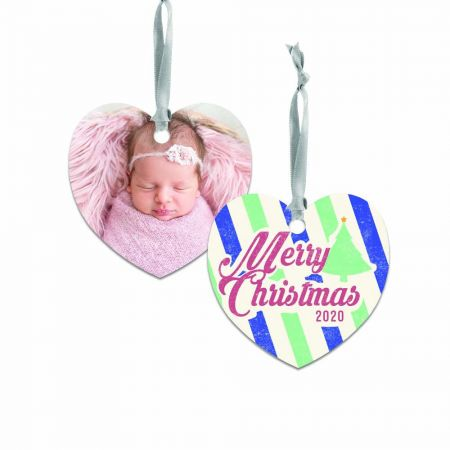 Merry Christmas Heart Metal Ornament - Stripes