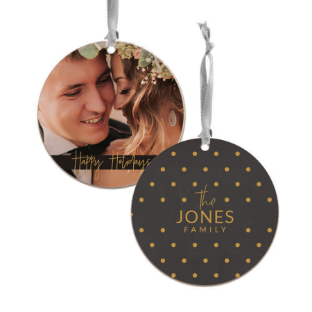 Happy Holidays Round Wood Ornament - Dots