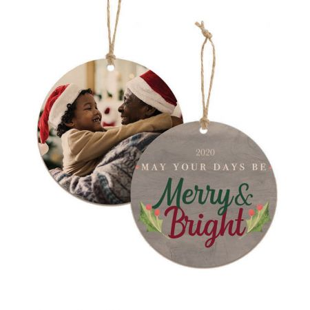 Merry & Bright Round Wood Ornament - Holly