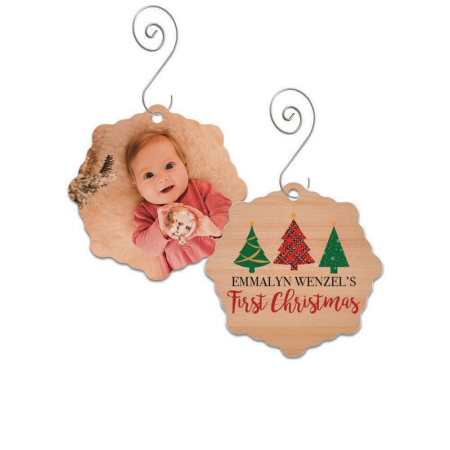 First Christmas Snowflake Wood Ornament - Trees