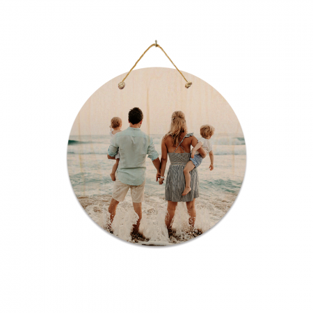 8-Inch Round Hanging Wood Print